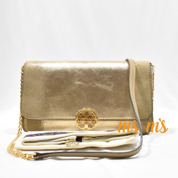 e5c4980477 NWT Tory Burch Gold Metallic Convertible CrossBody